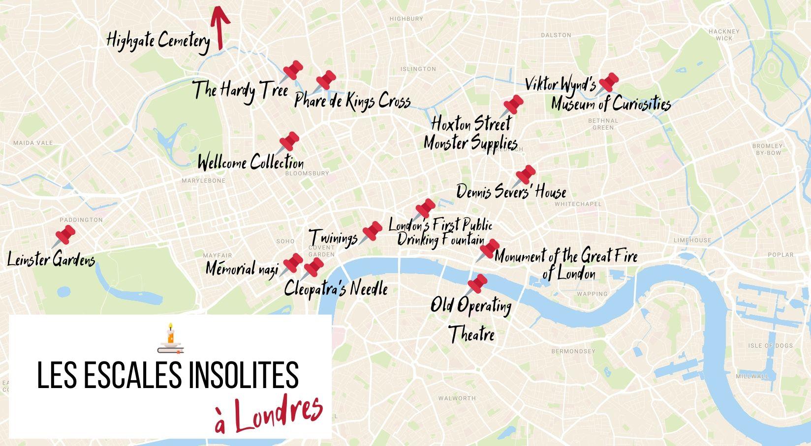 La carte des Escales Insolites à Londres