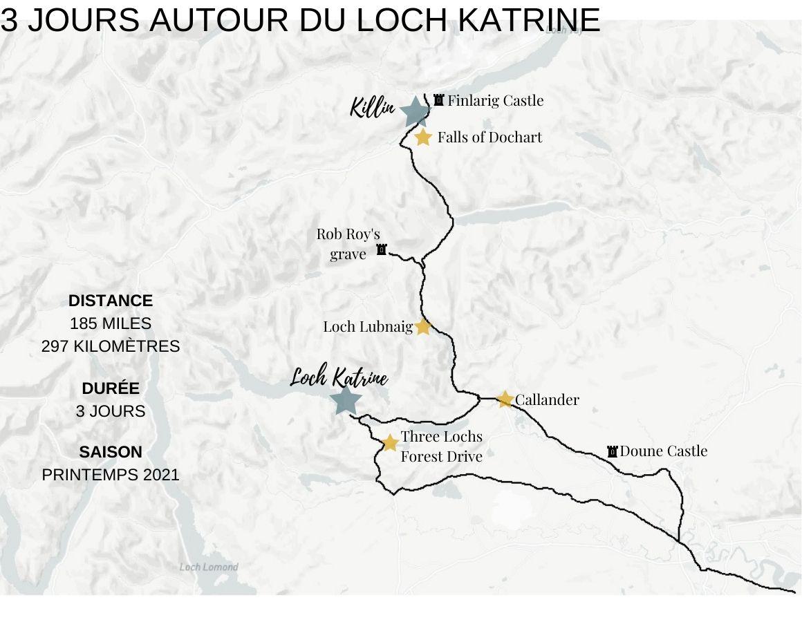 La carte de l'itinéraire
